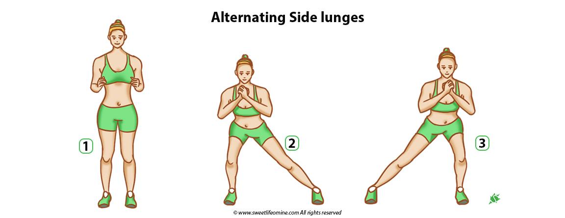 Alternating Side lunges